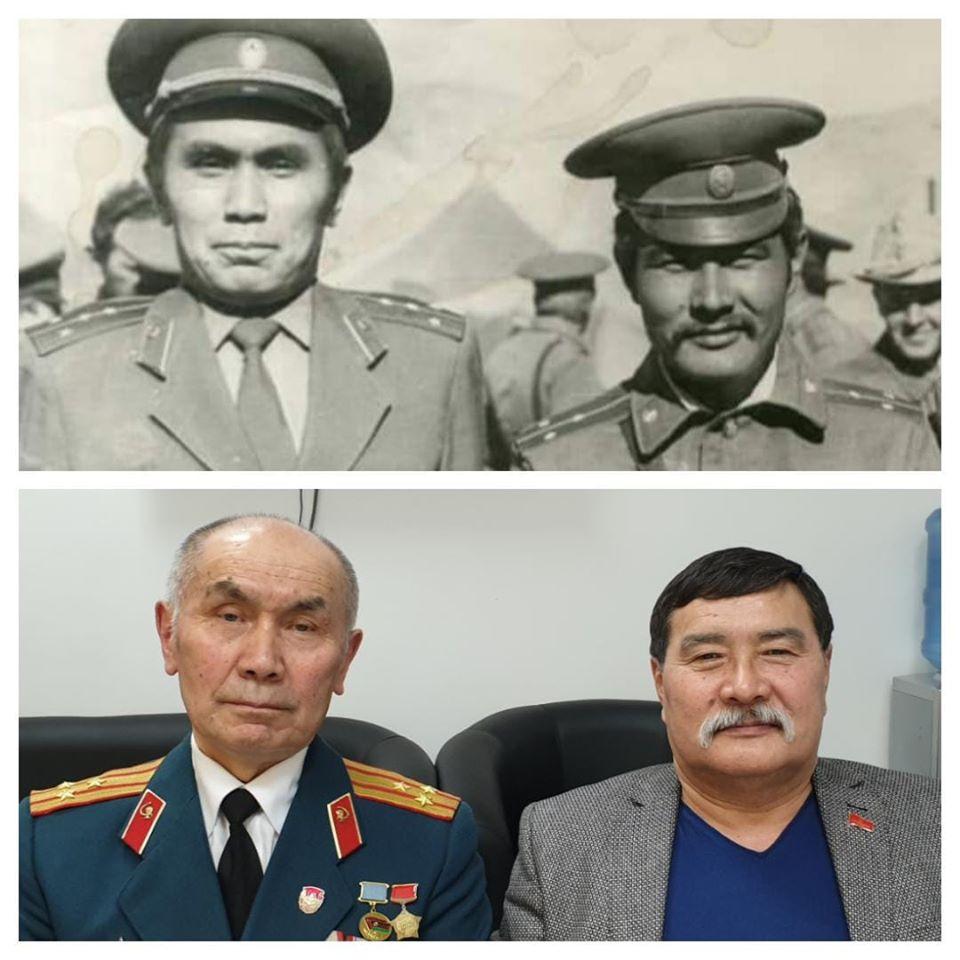 Кабул 1980 год и Бишкек-2019. Чотбаев говорит: «Познакомились мы с Кадырбеком байке в ходе одной из операций в Панджшерском ущелье в Афганистане. И на верхнем фото мы с ним, когда мне вручили орден Красной Звезды и досрочно – погоны старшего лейтенанта. Нижнее фото сделано с ним уже в этом году».